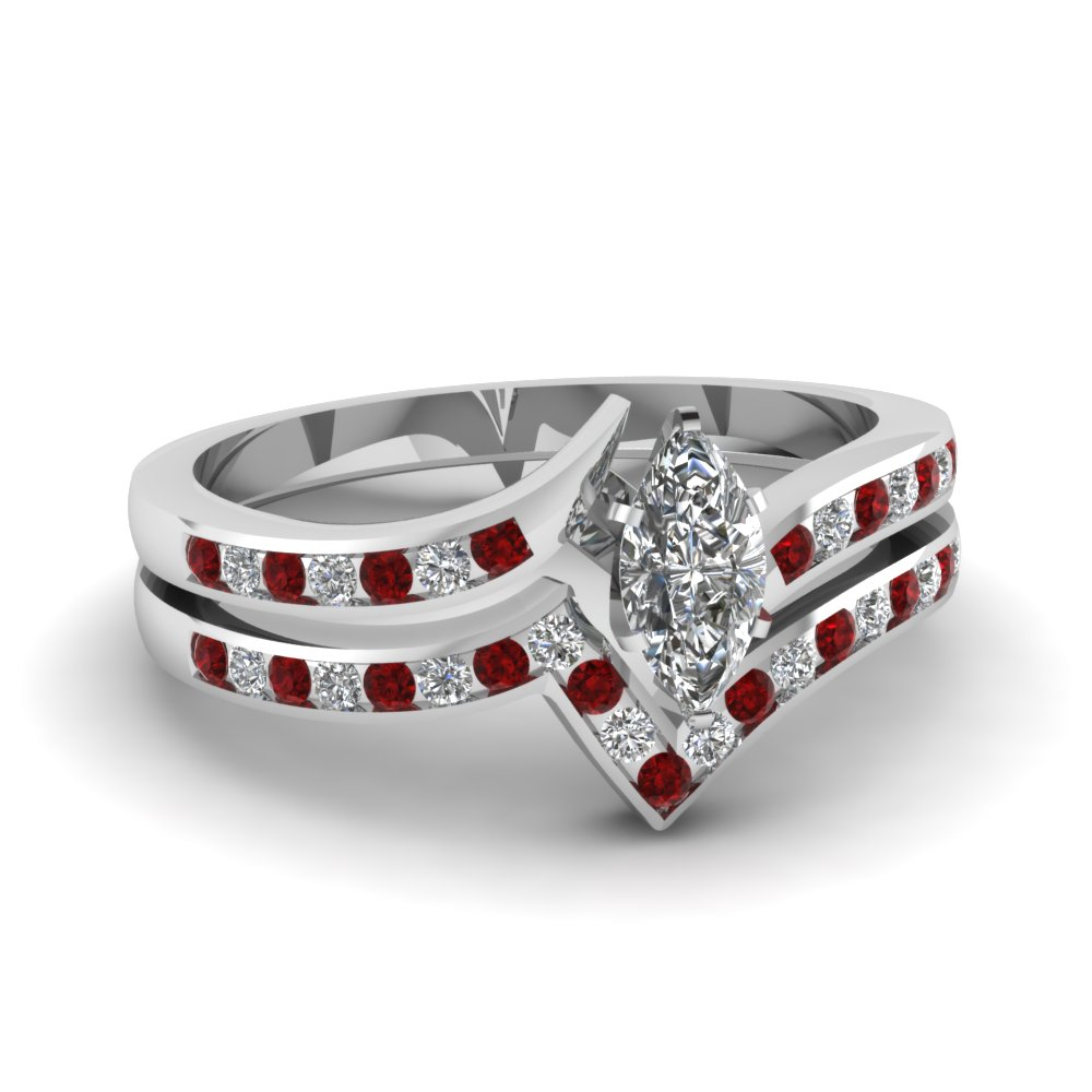 Twist Channel Marquise Diamond Wedding Set With Ruby In 14K White