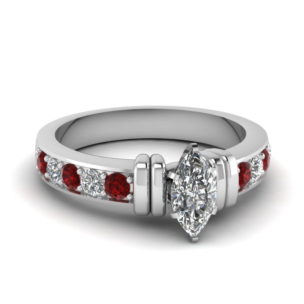 simple bar set marquise lab diamond engagement ring with ruby in FDENR957MQRGRUDR Nl WG