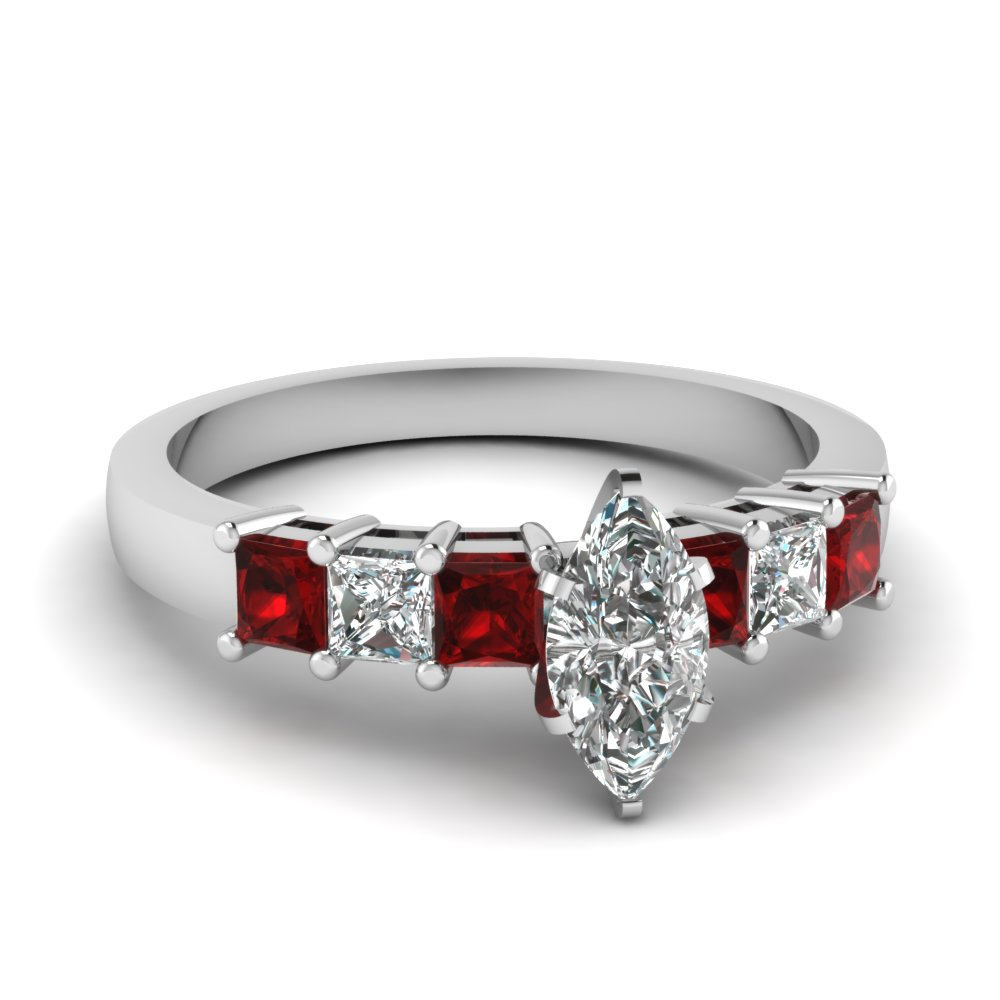7 stone marquise diamond engagement ring with ruby in FDENS1027MQRGRUDR NL WG