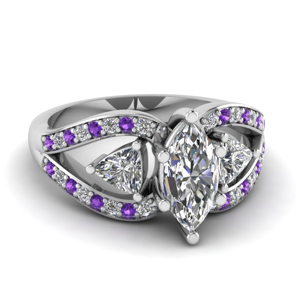 trillion butterfly marquise diamond engagement ring with purple topaz in fd71589mqrgvito nl wg - Purple Wedding Rings