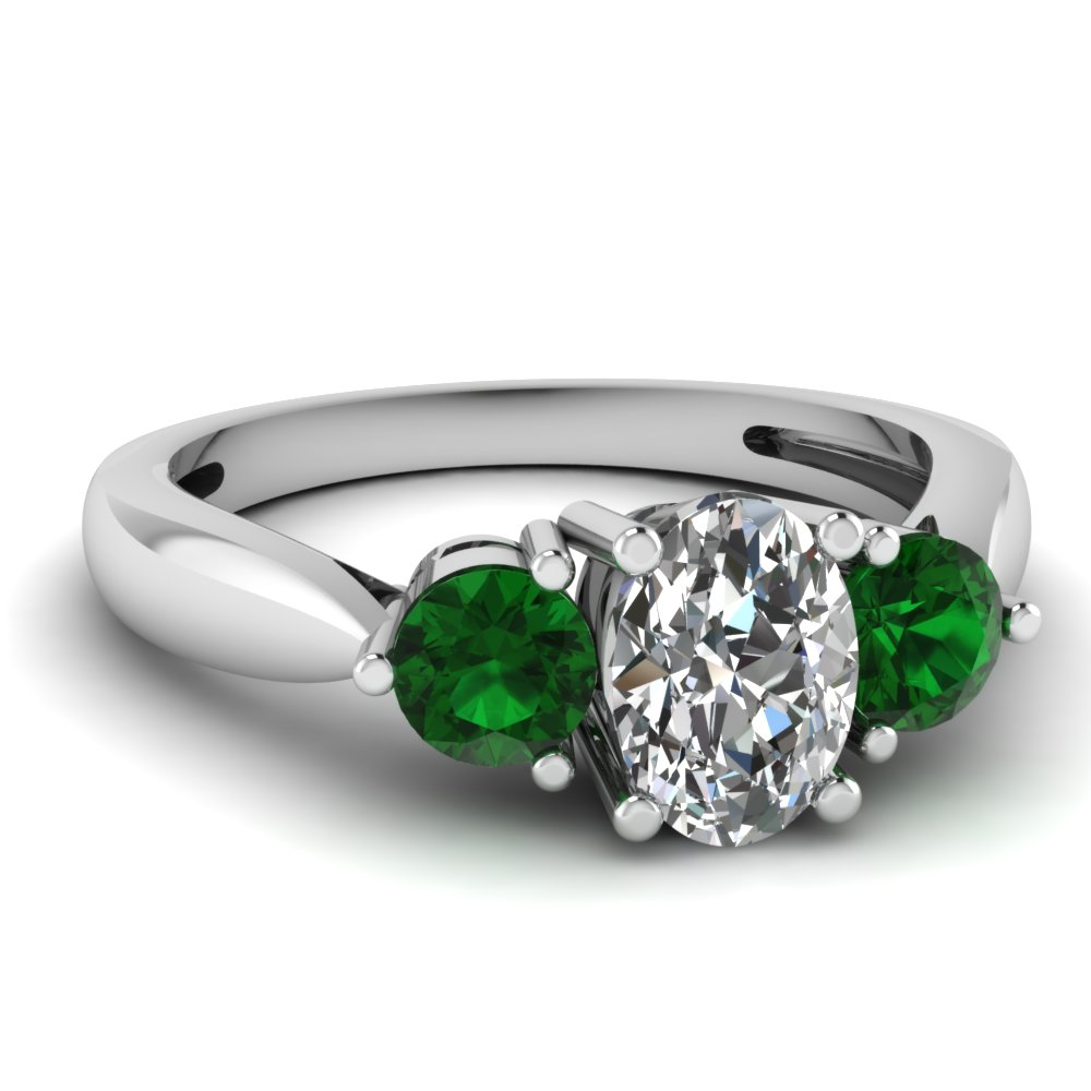 3 stone tapered engagement ring with emerald in 950 for Emerald and diamond wedding ring