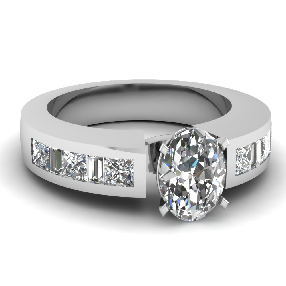 Oval Diamond Princess and Baguette Shank Engagement Ring