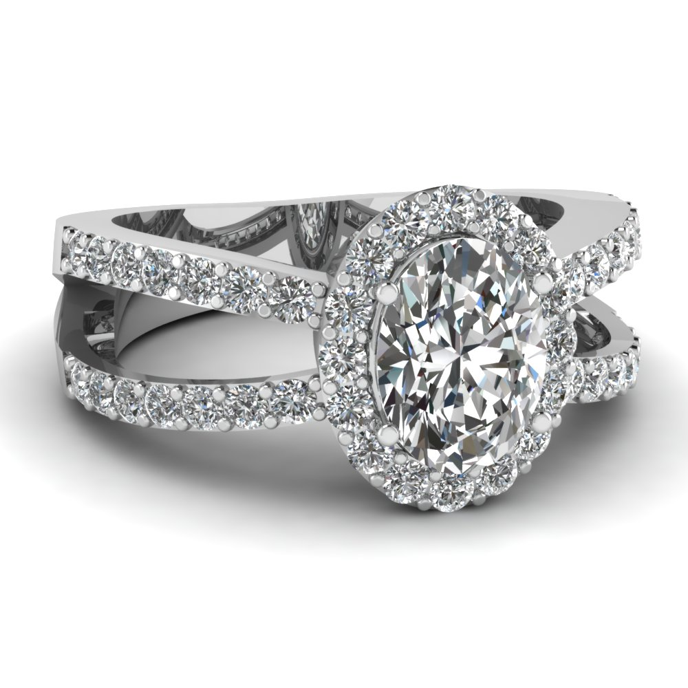 White Gold Oval White Diamond Engagement Wedding Ring In Pave Set