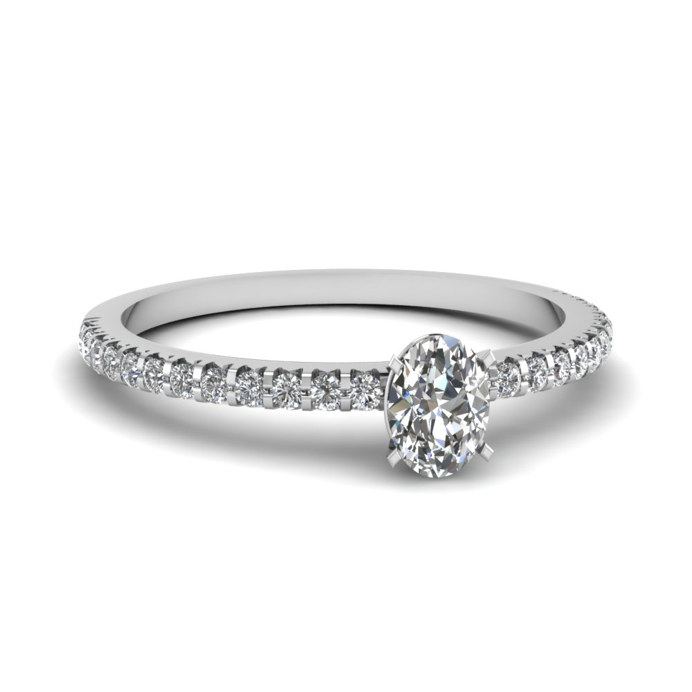 Floating Thin Oval Diamond Ring