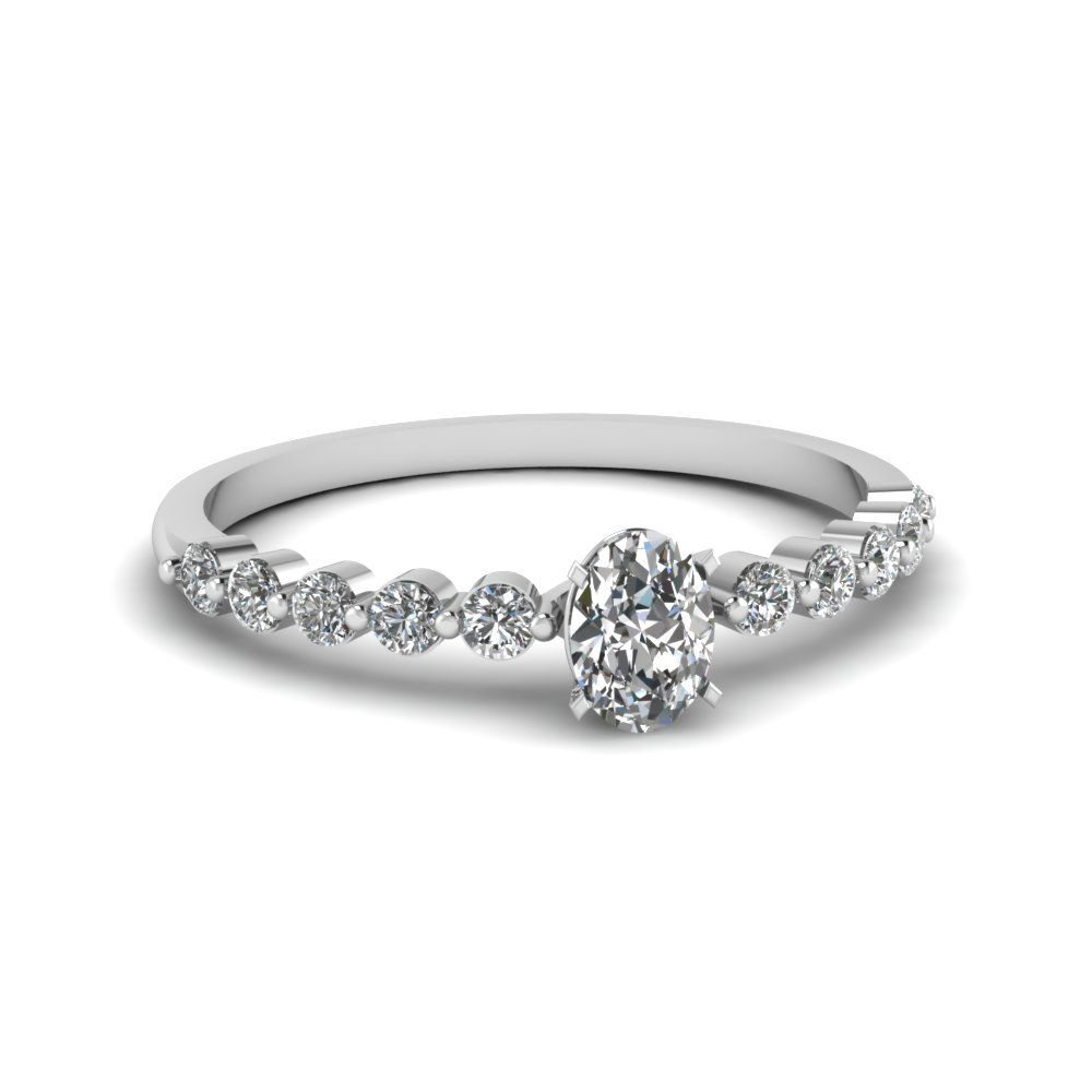 white gold oval white diamond engagement wedding ring - Oval Wedding Ring