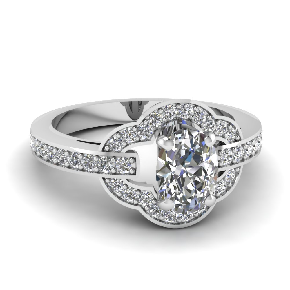 Petite Pave Oval Diamond Ring