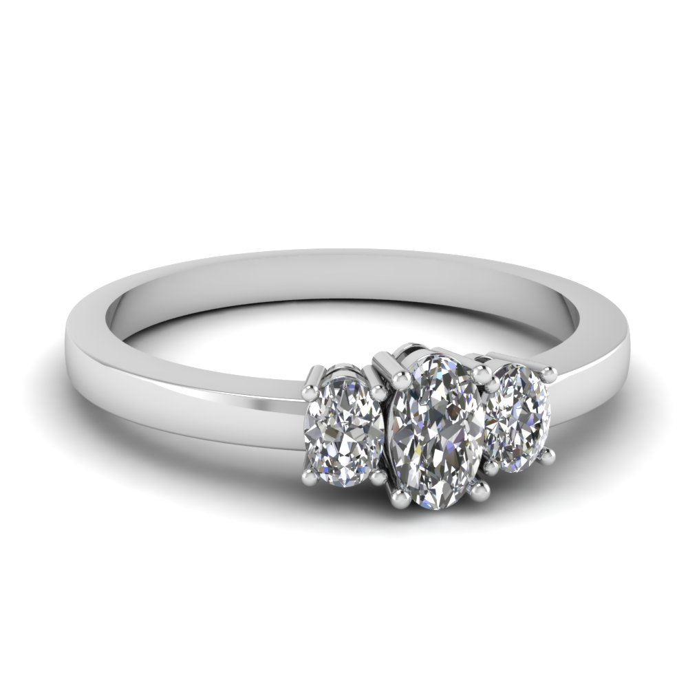 White Gold Oval White Diamond Engagement Wedding Ring In Prong Set