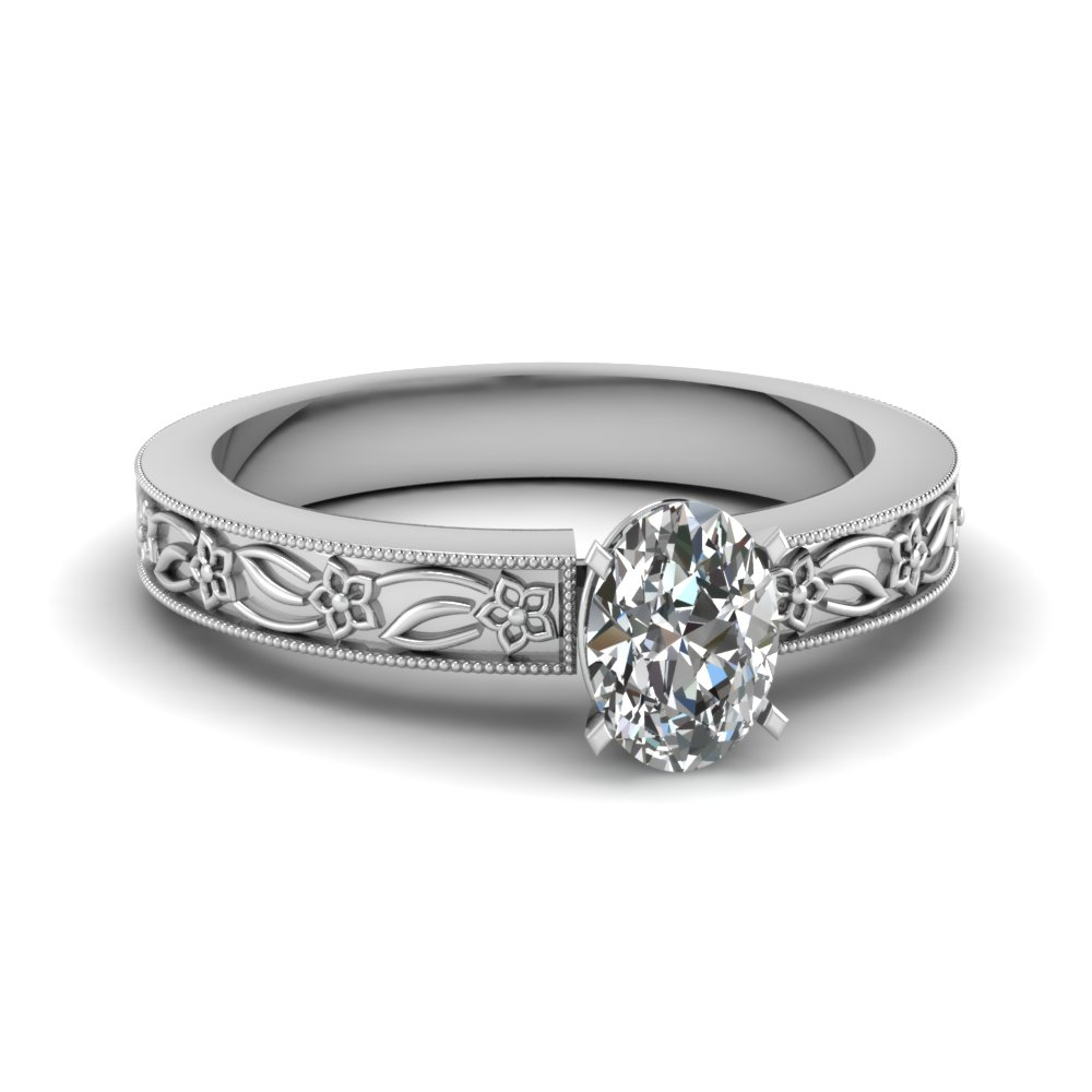 engraved flower oval shaped solitaire engagement ring in FDENS3537OVR NL WG