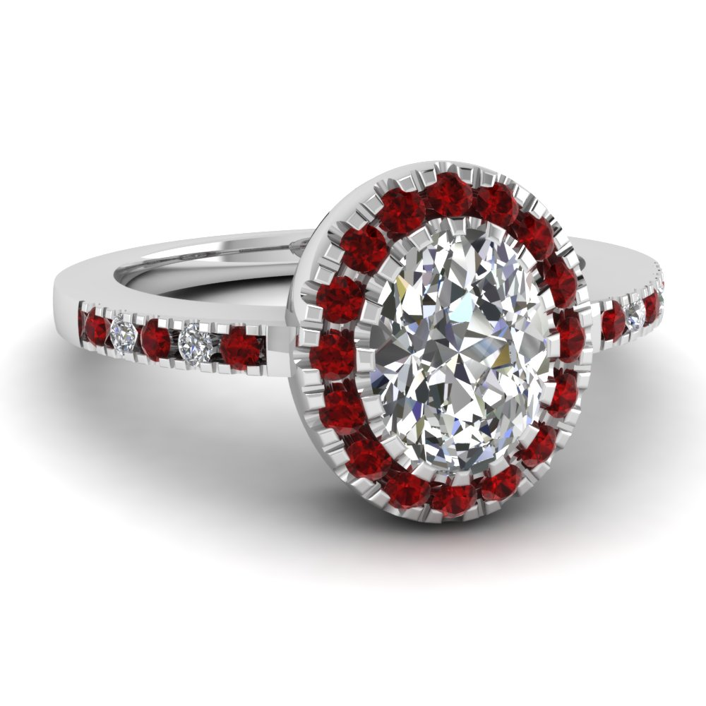 Oval Shaped Ruby And Diamond Halo Engagement Ring