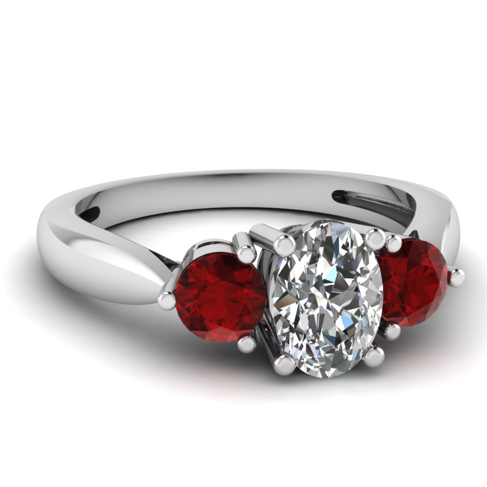 3 Stone Tapered Engagement Ring With Ruby In FDENR1505OVRGRUDR NL WG