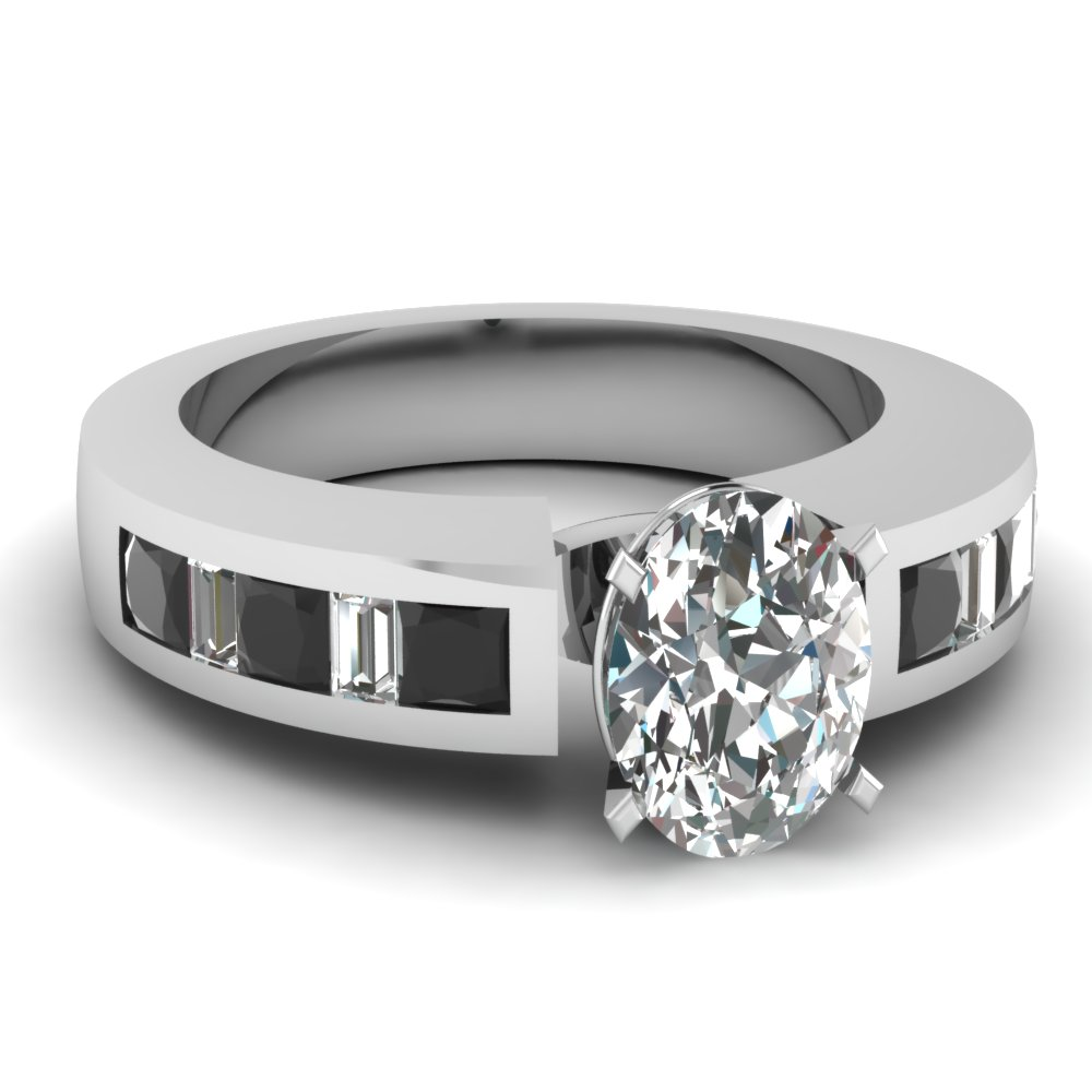 Black and White Channel Set Oval Diamond Engagement Ring