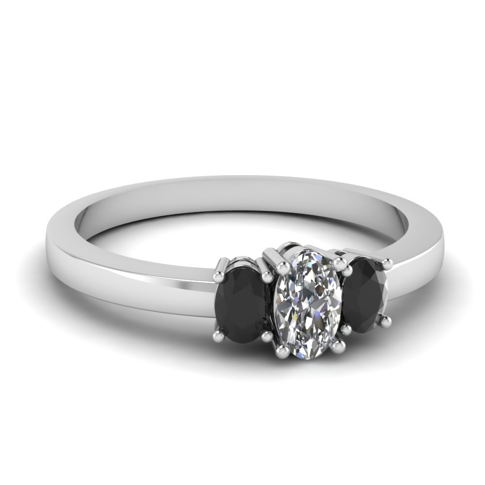 Stone Wedding Rings: Delicate 3 Stone Engagement Ring With Black Diamond In 14K