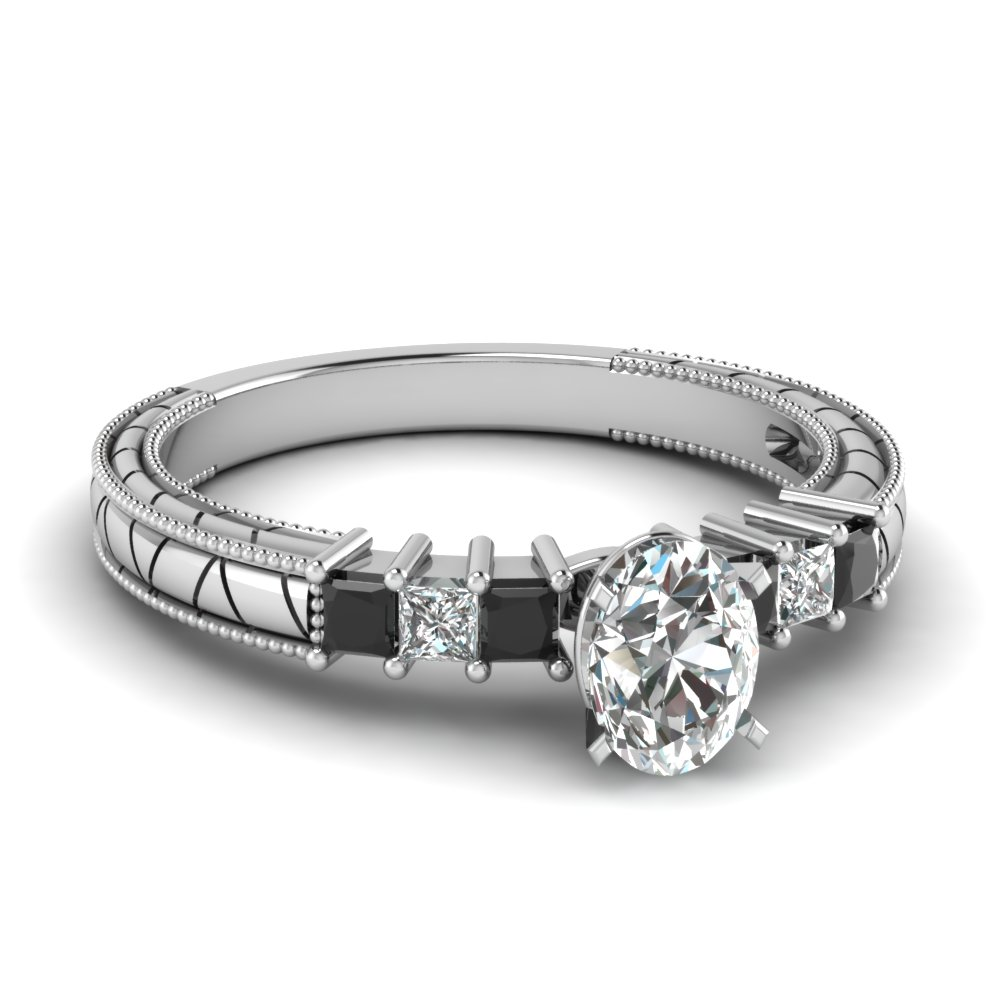 Black Diamond and Oval Shaped Milgrain Engagement Ring