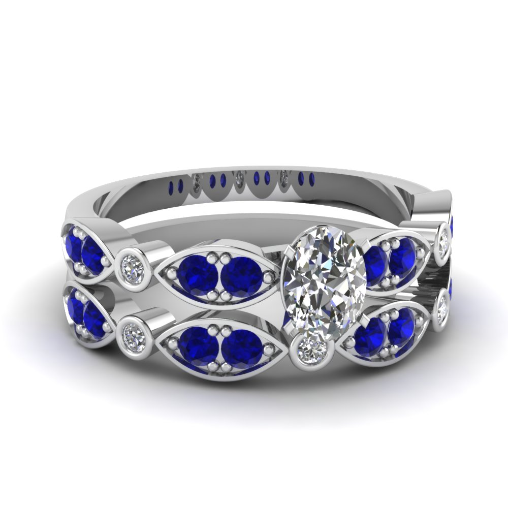 art deco oval diamond wedding ring set with sapphire in FDENS2035OVGSABL NL WG