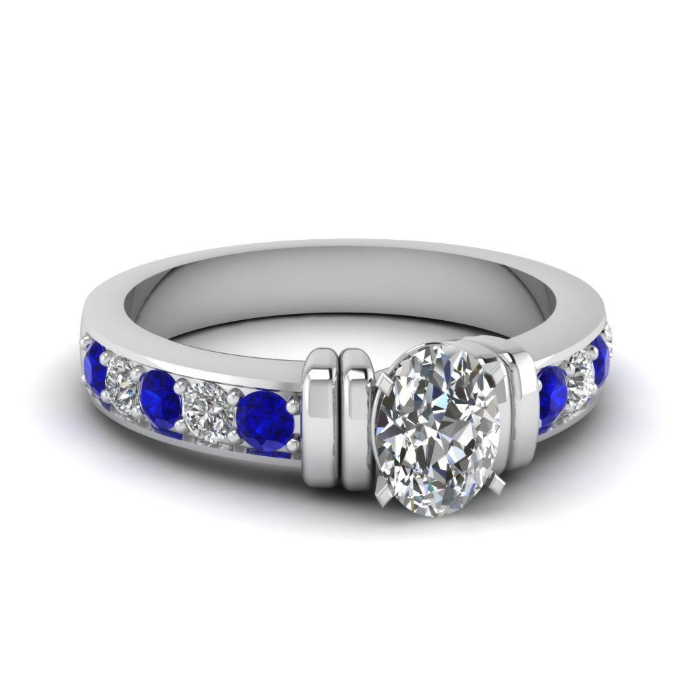 simple bar set oval diamond engagement ring with sapphire in FDENR957OVRGSABL Nl WG
