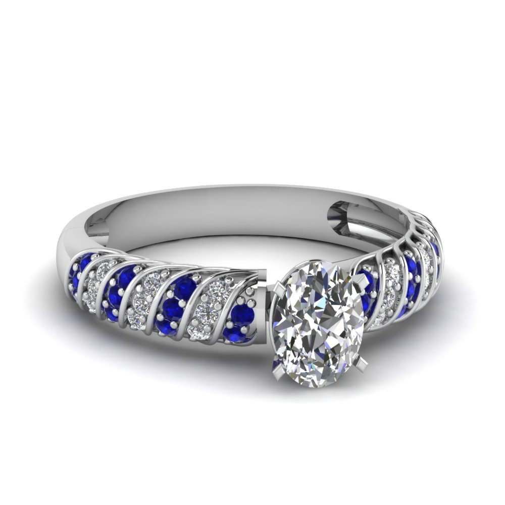rope design oval moissanite engagement ring with sapphire in FDENS3048OVRGSABL NL WG 30