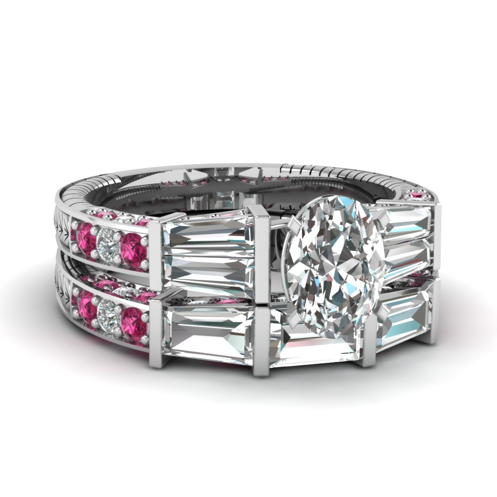 Bar Baguette Platinum Wedding Ring Set
