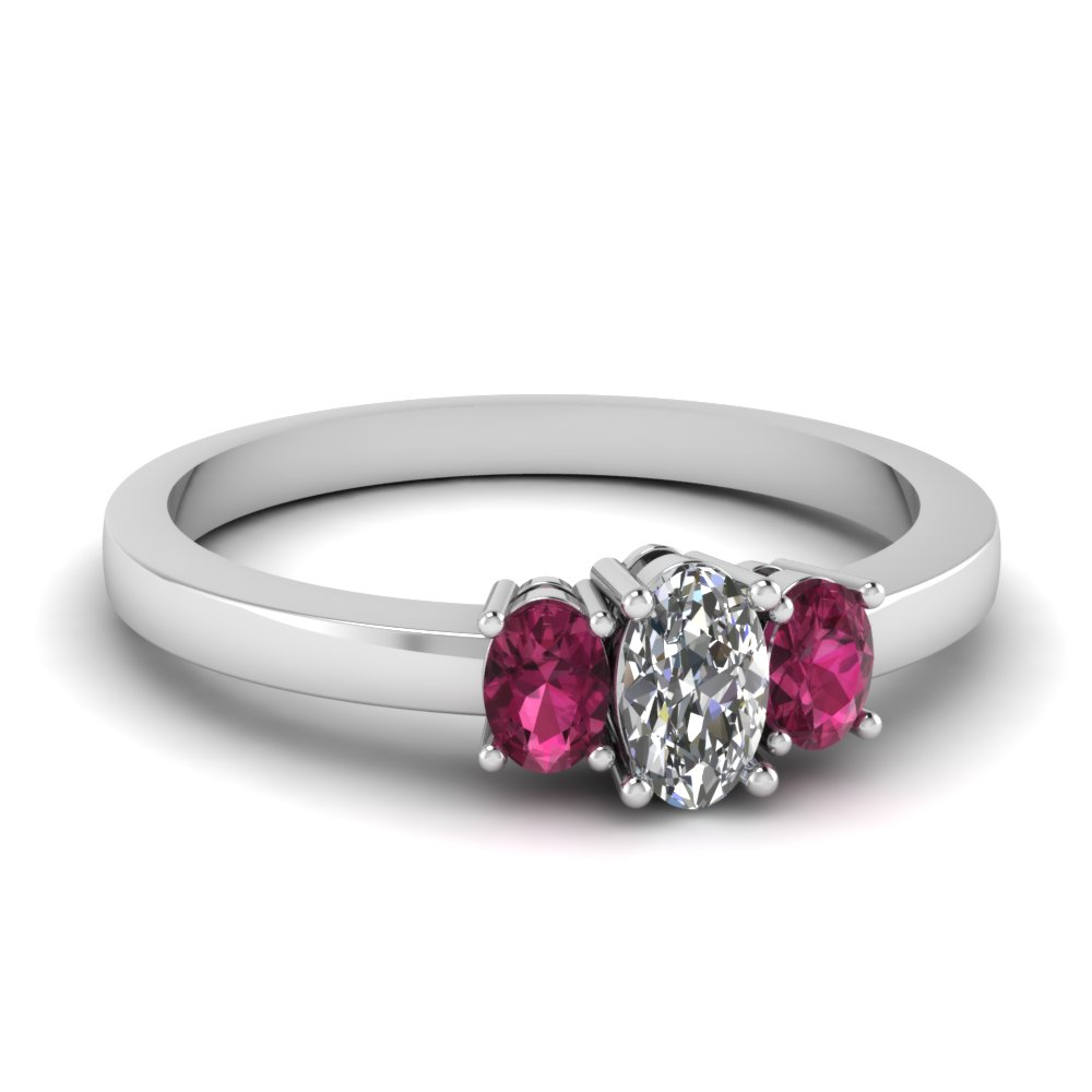 oval moissanite 3 stone basket engagement ring with pink sapphire in FDENR2712OVRGSADRPI NL WG