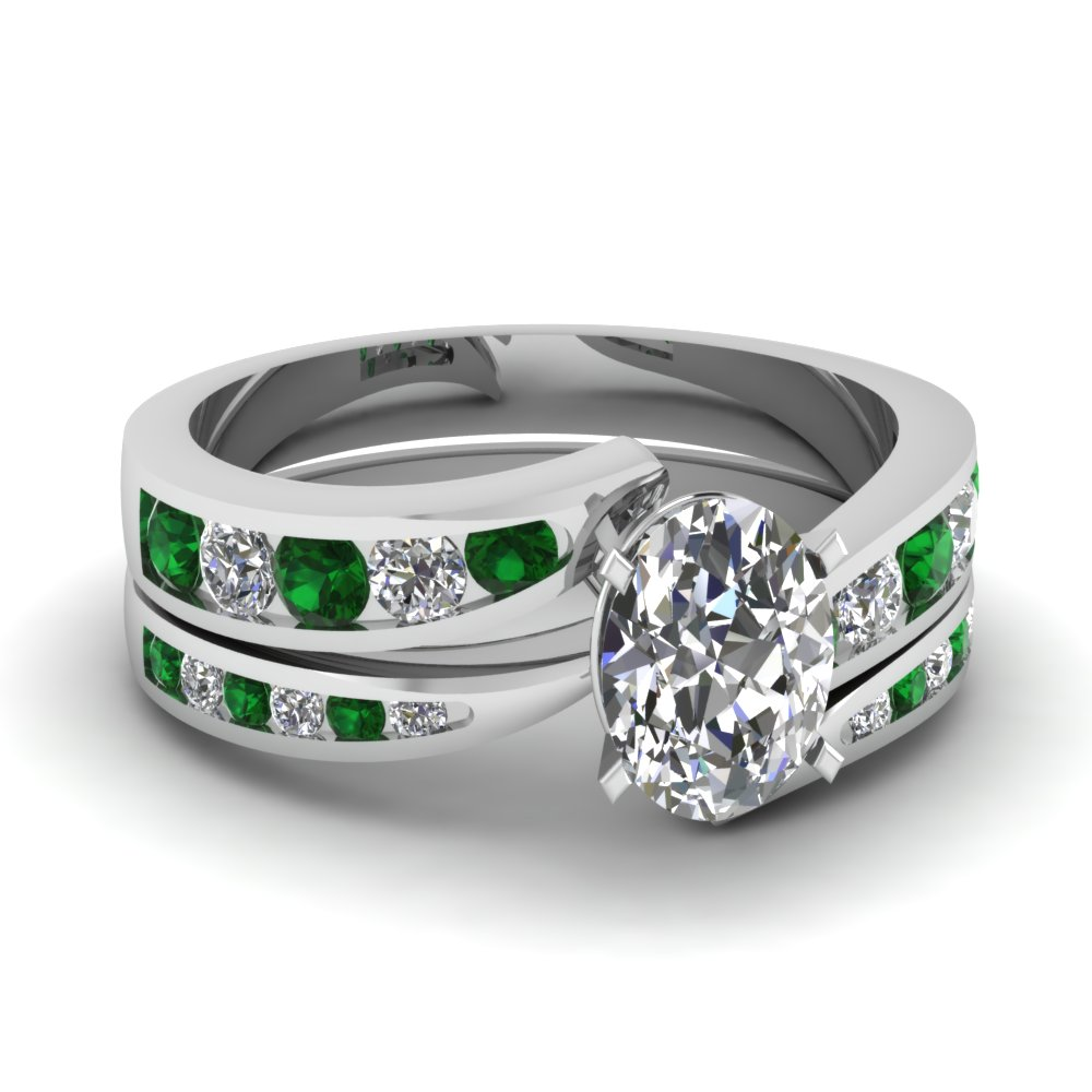 oval shaped swirl channel diamond bridal set with emerald in FDENS4028OVGEMGR NL WG.jpg