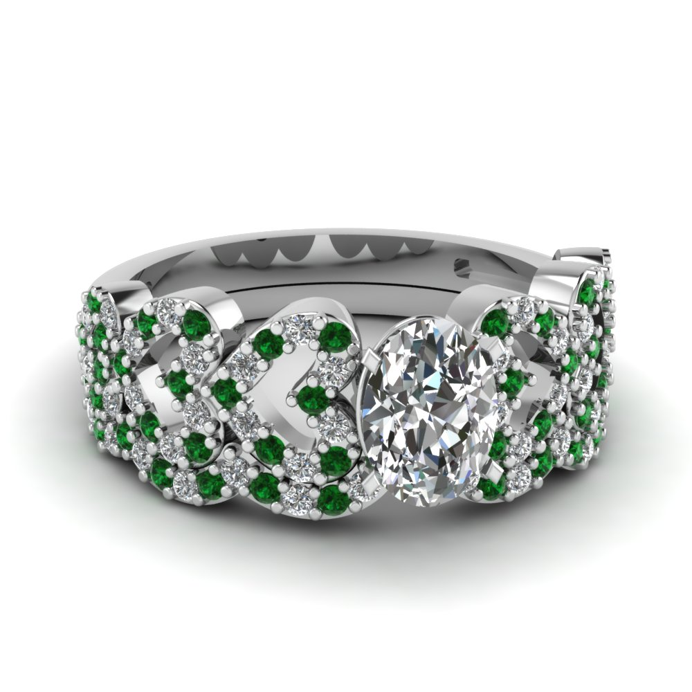 oval shaped heart design linked diamond wedding set with emerald in FDENS3051OVGEMGR NL WG.jpg
