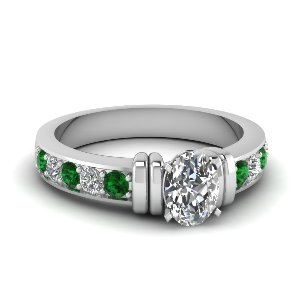 simple bar set oval diamond engagement ring with emerald in FDENR957OVRGEMGR Nl WG