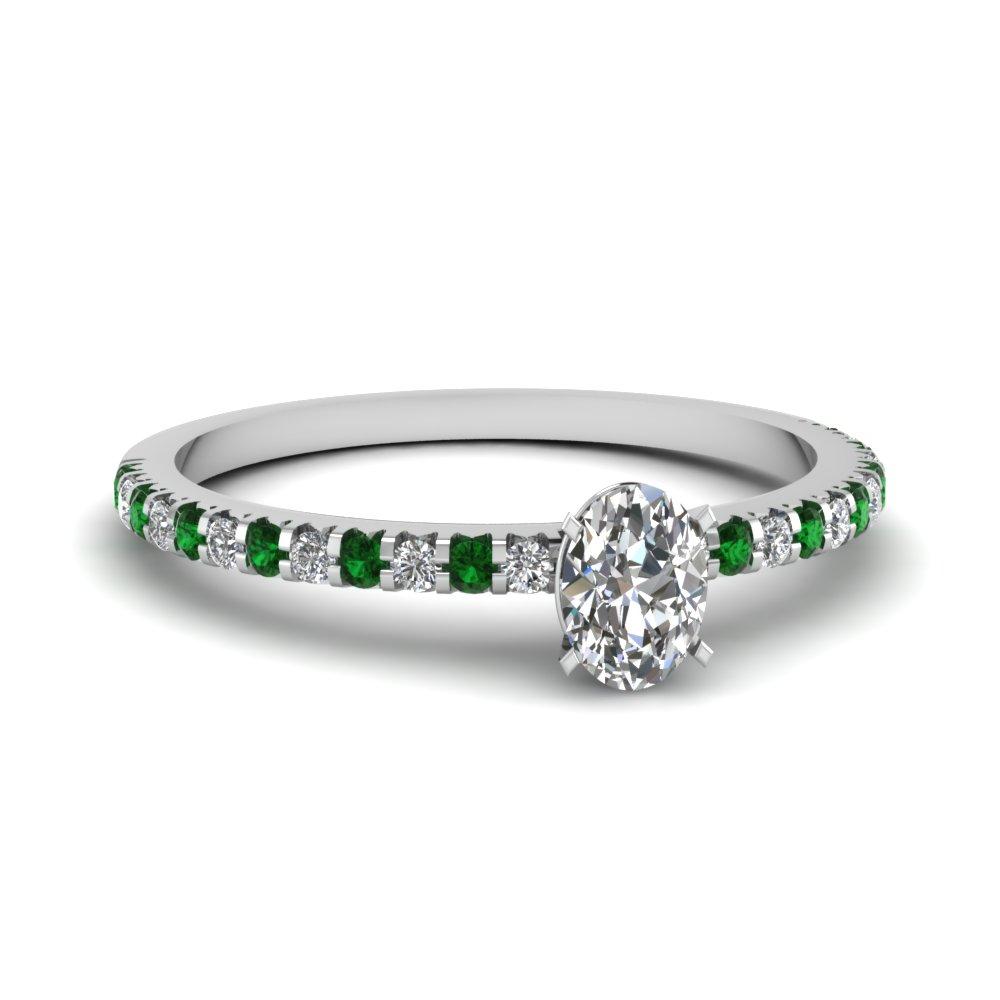 floating thin oval diamond engagement ring with emerald in FDENS3009OVRGEMGR NL WG 30
