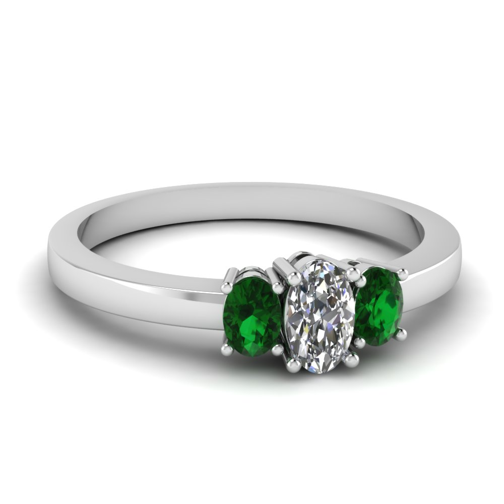oval diamond 3 stone basket engagement ring with emerald in FDENR2712OVRGEMGR NL WG