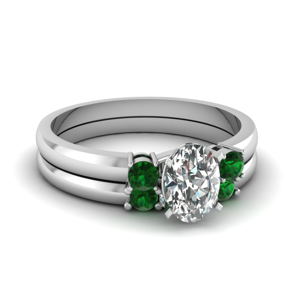 Oval Shaped Green Emerald Wedding Sets