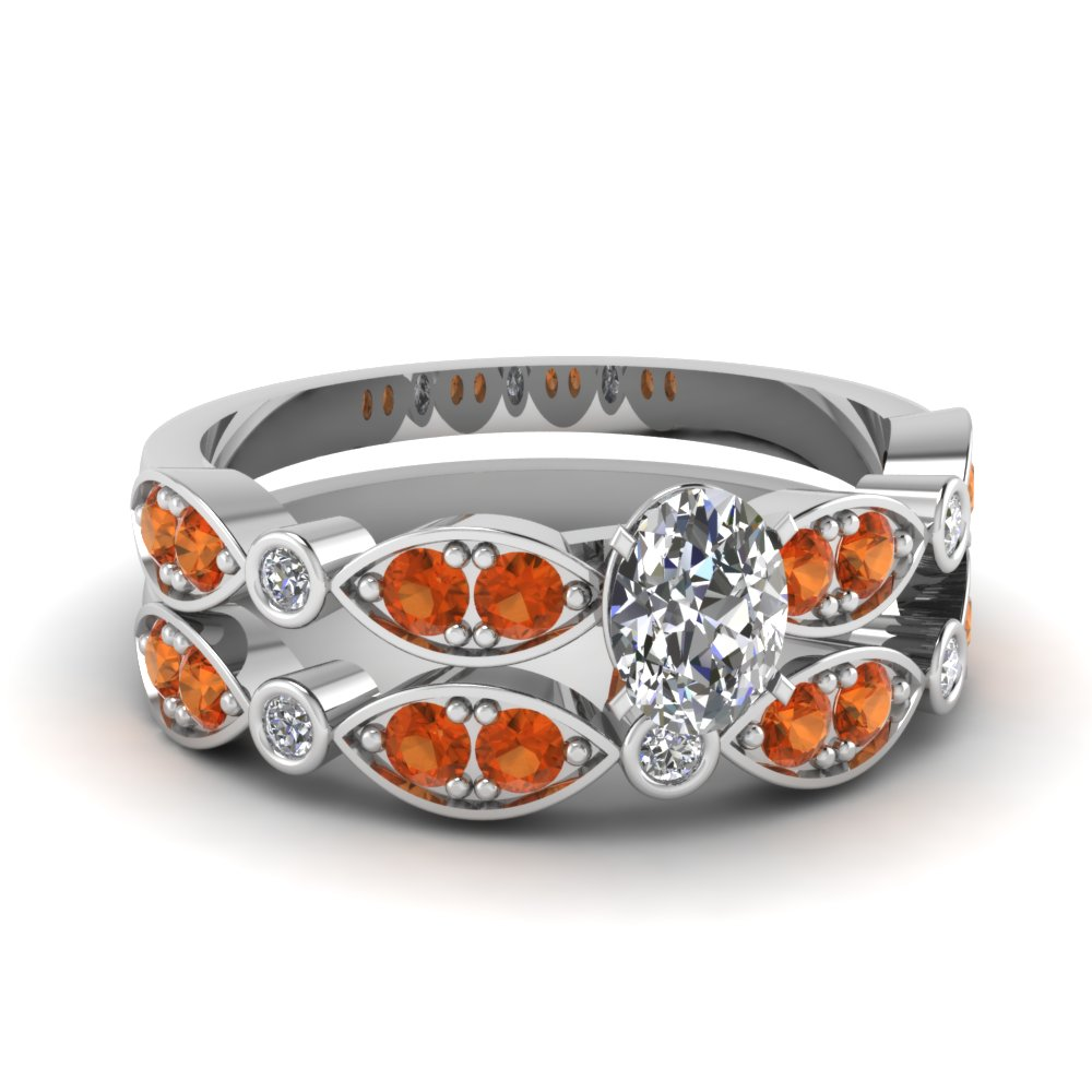 art deco oval diamond wedding ring set with orange sapphire in FDENS2035OVGSAOR NL WG