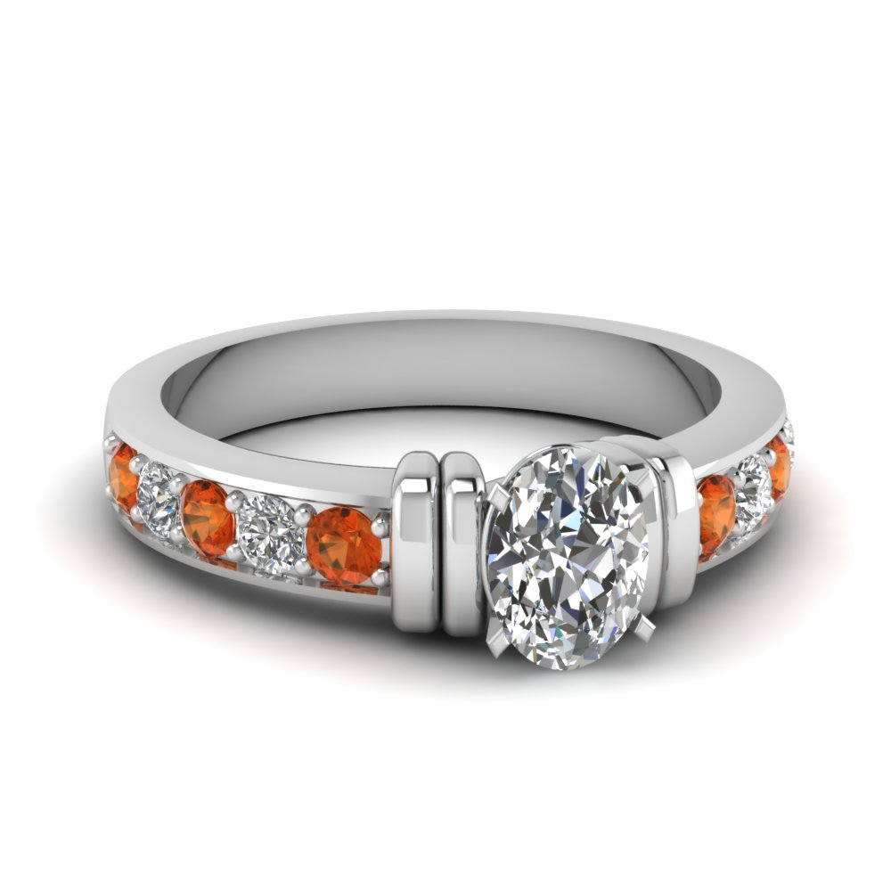 simple bar set oval moissanite engagement ring with orange sapphire in FDENR957OVRGSAOR Nl WG