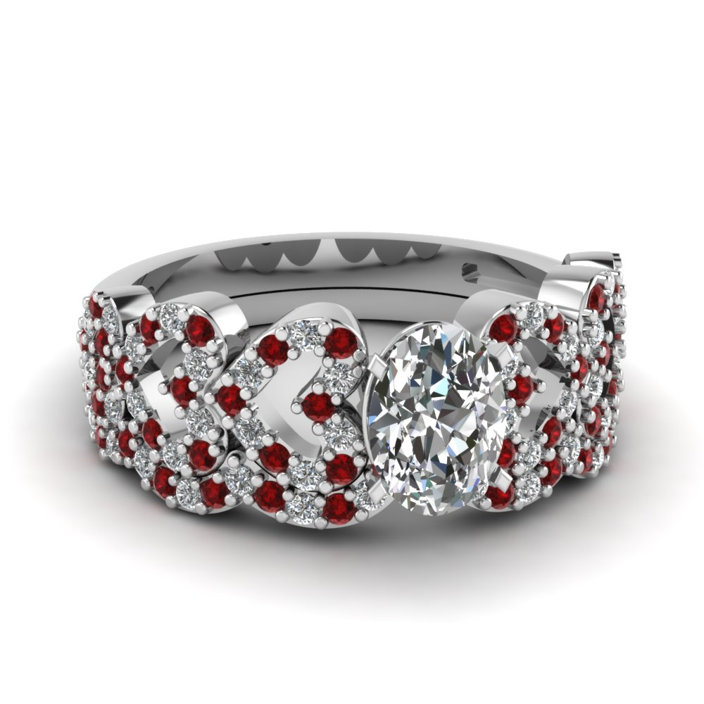 14k White Gold Wedding Ring Set with Rubies
