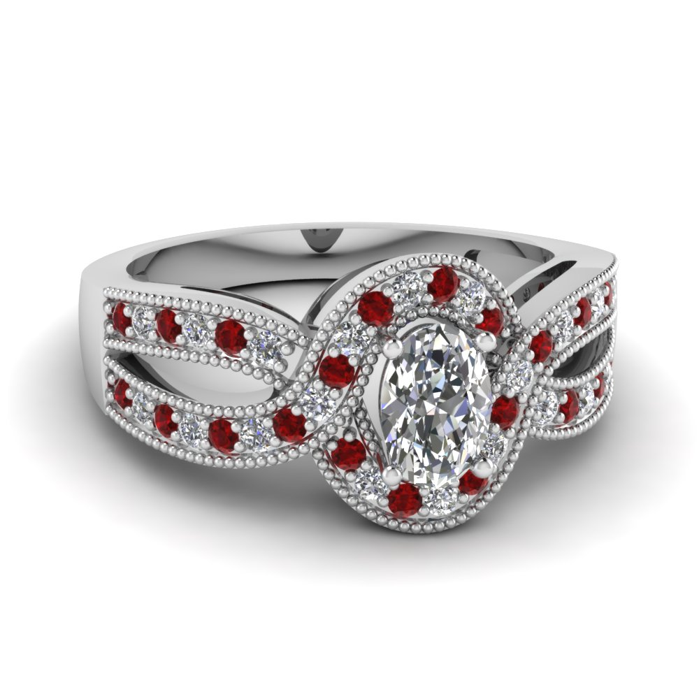 Oval Milgrain Platinum Halo Ring with Rubies