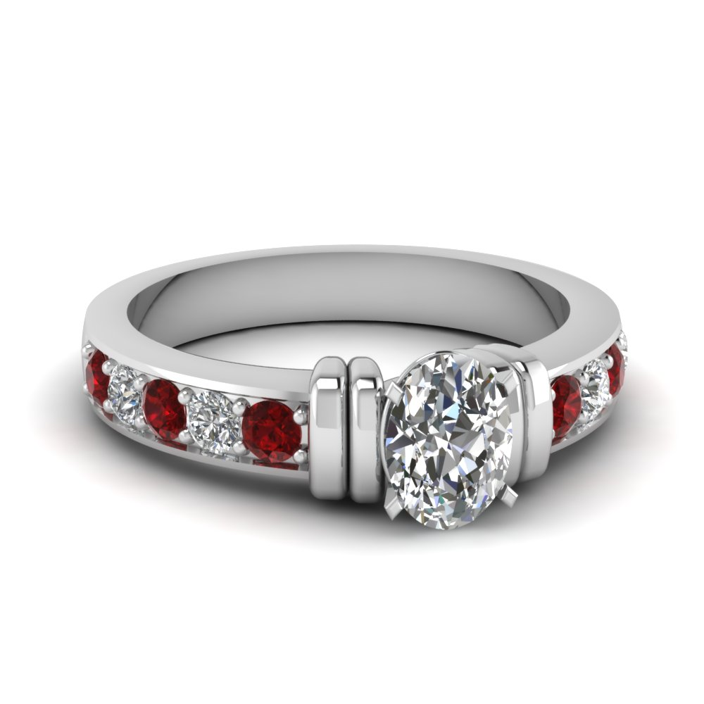 simple bar set oval diamond engagement ring with ruby in FDENR957OVRGRUDR Nl WG
