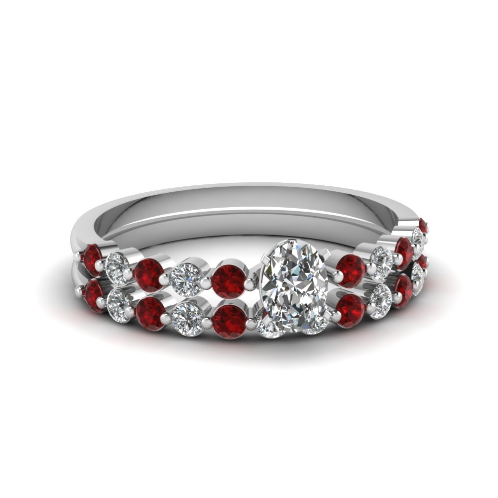 Platinum Ruby Wedding Ring Set