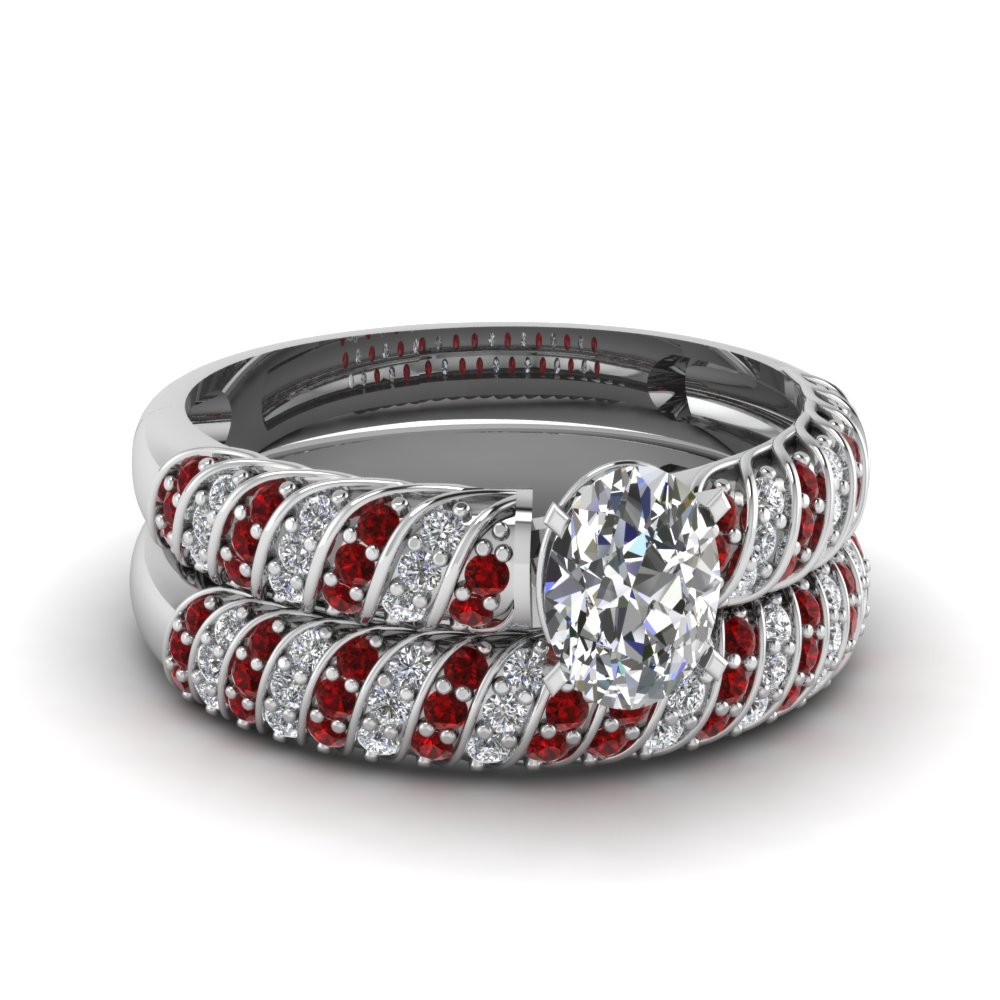 rope design oval diamond wedding set with ruby in FDENS3048OVGRUDR NL WG 30