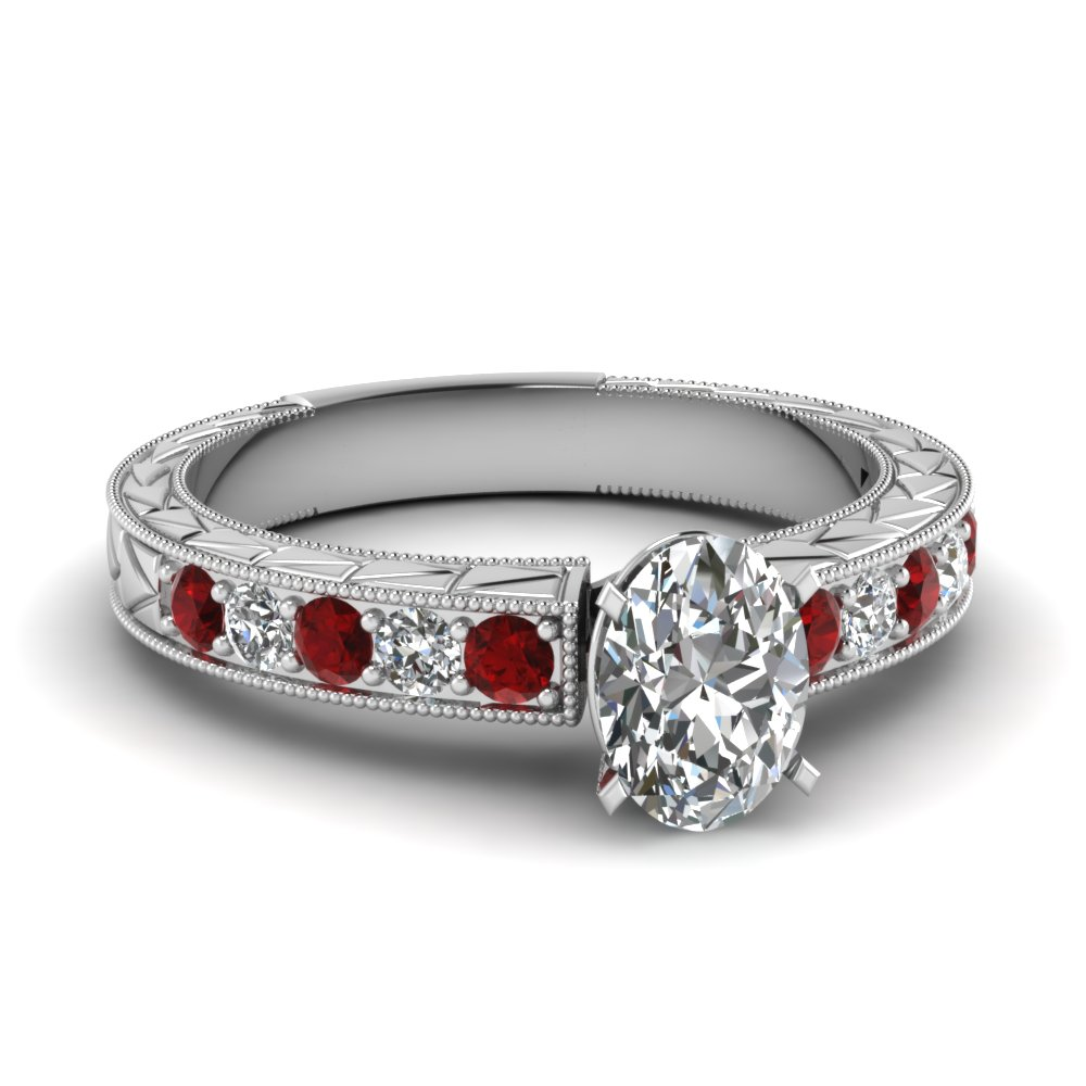 Antique Engagement Rings With Oval Shaped & Ruby