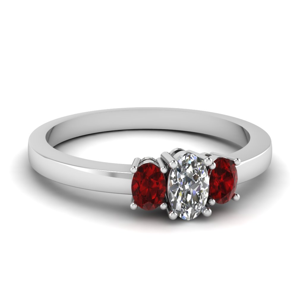 oval diamond 3 stone basket engagement ring with ruby in FDENR2712OVRGRUDR NL WG