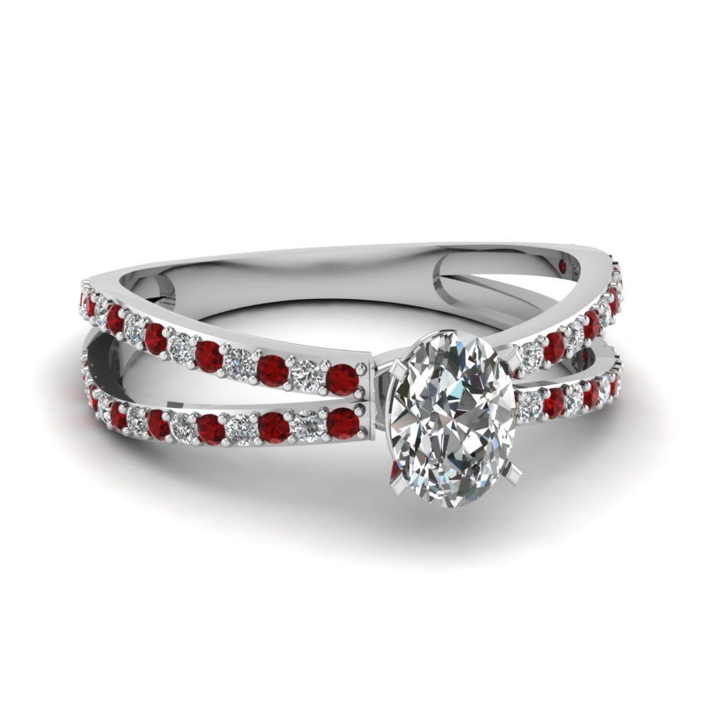 reverse split shank oval diamond engagement ring with ruby in FDENS3134OVRGRUDR NL WG