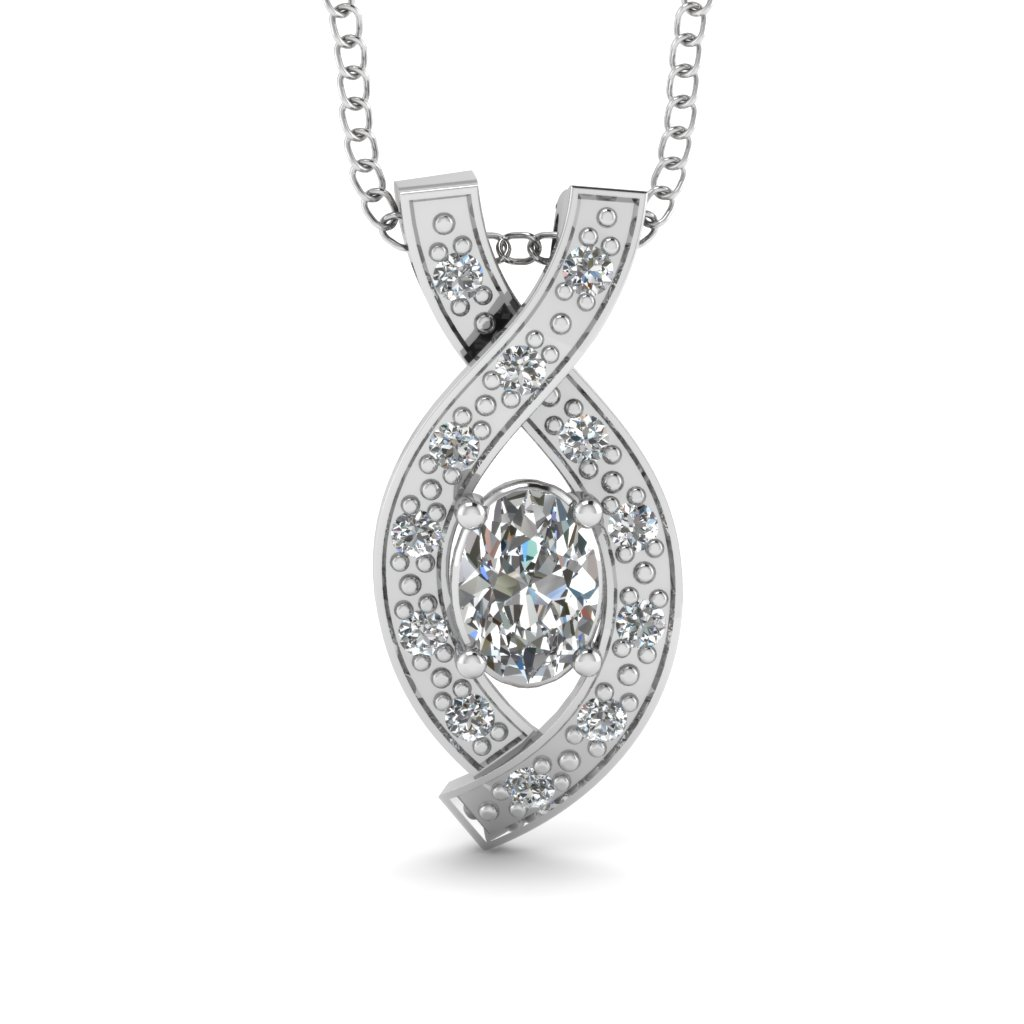 Pave Set Round Diamonds Entwined Fancy Pendant