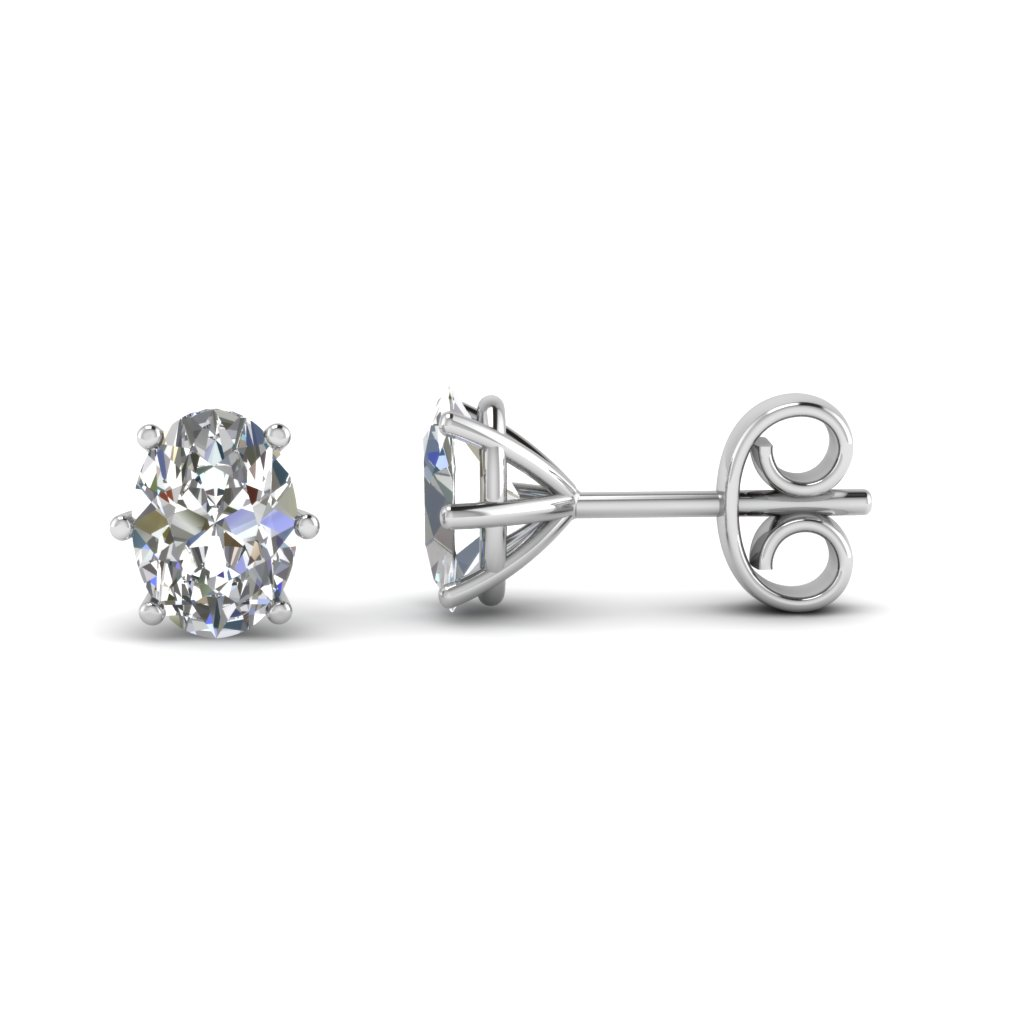 White Gold Oval Diamond Stud Earrings In