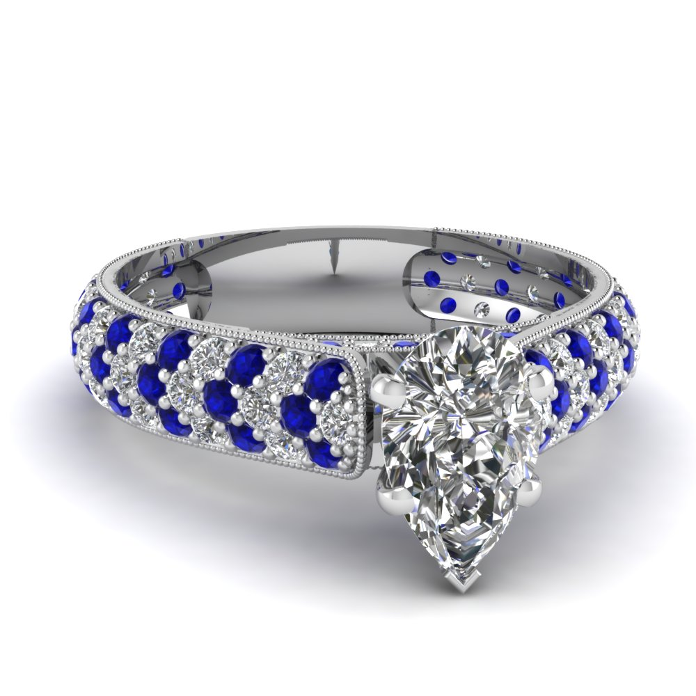 Pear Diamond Milgrain Ring with Blue Sapphires