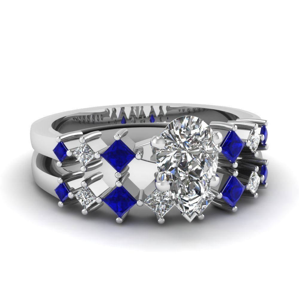 Kite Style Sapphire and Pear Shaped Wedding Sets