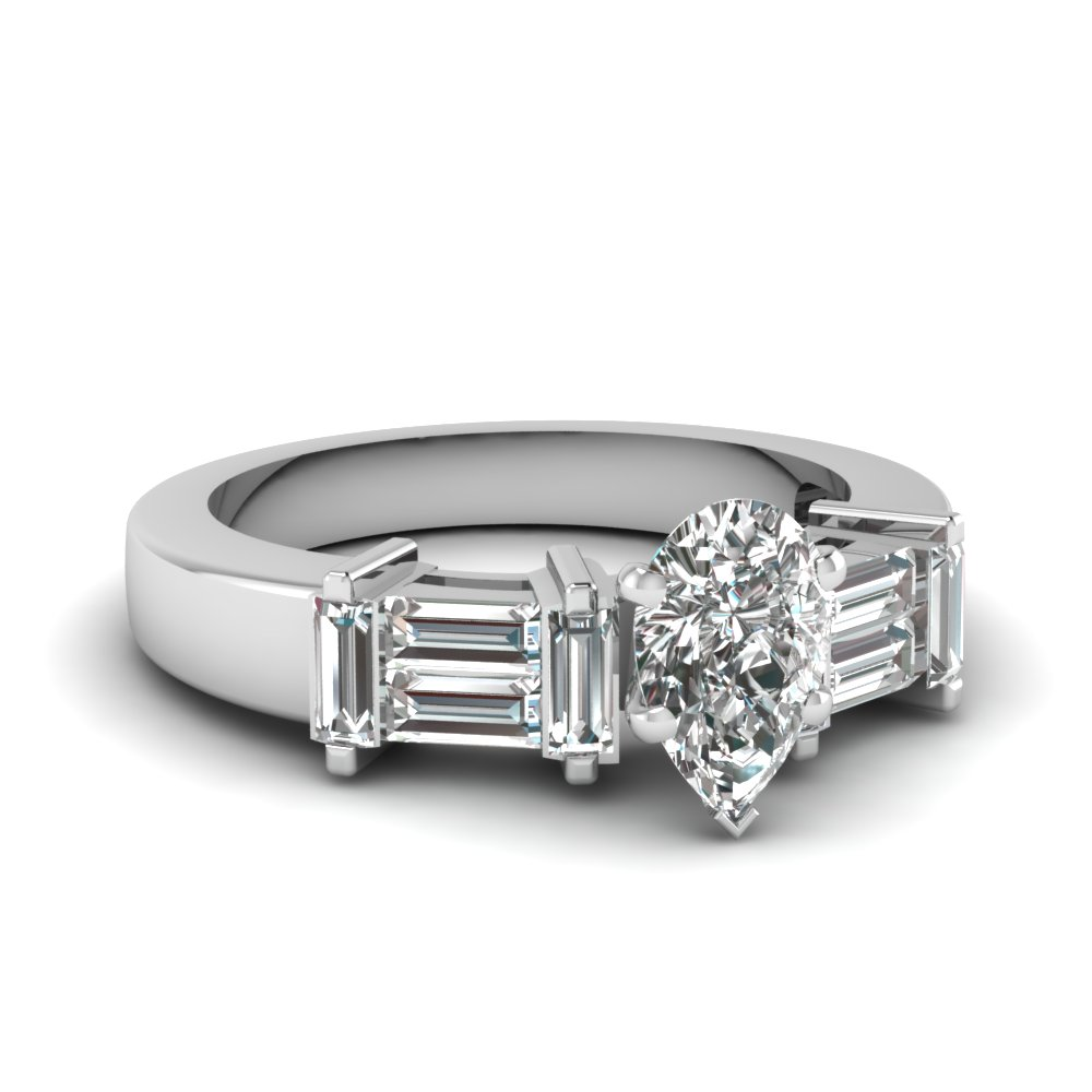 Pear Cut Diamond Engagement Rings 1/2 Carat