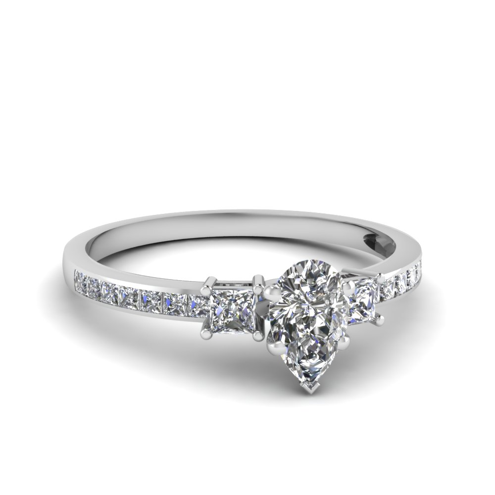 delicate 3 stone pear diamond ring in FDENS3022PER NL WG 30
