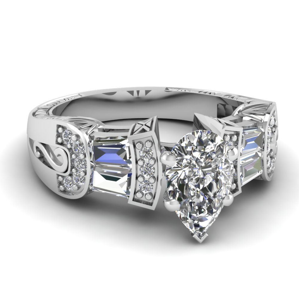 Whitegoldpearwhitediamondengagementweddingring