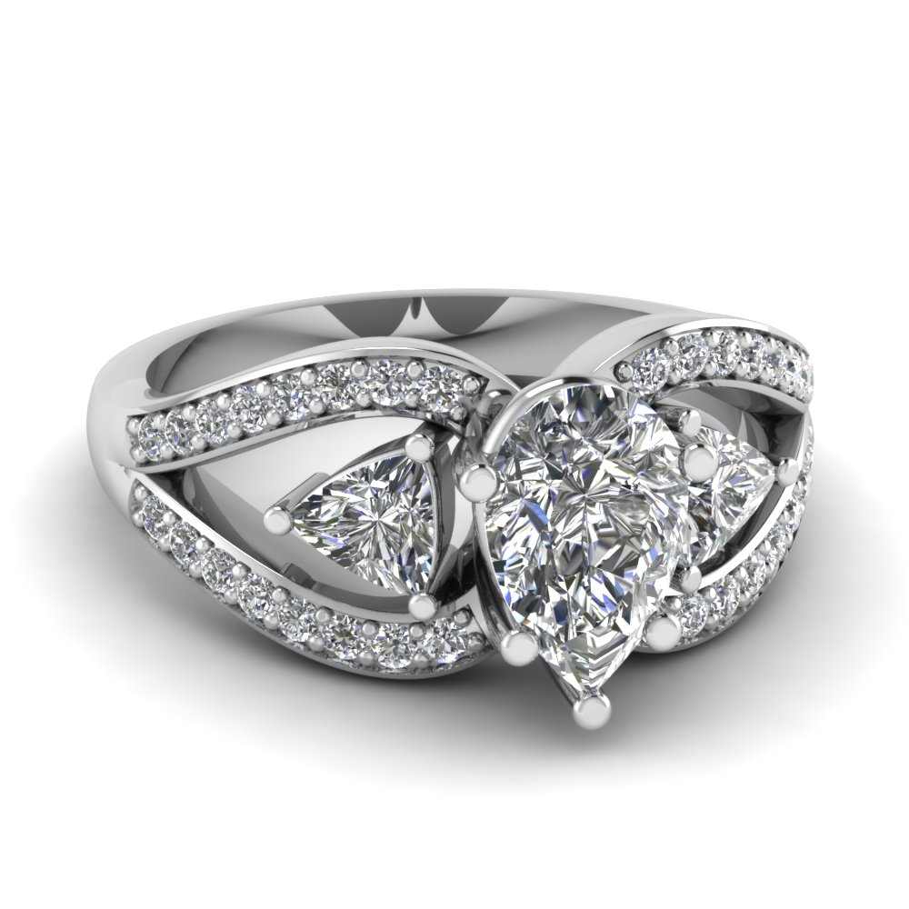 trillion butterfly pear diamond engagement ring in FD71589PER NL WG