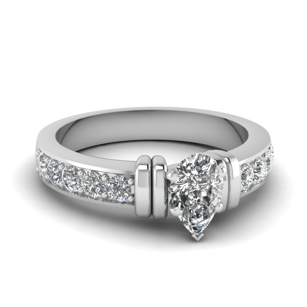 simple bar set pear lab diamond engagement ring in FDENR957PER Nl WG