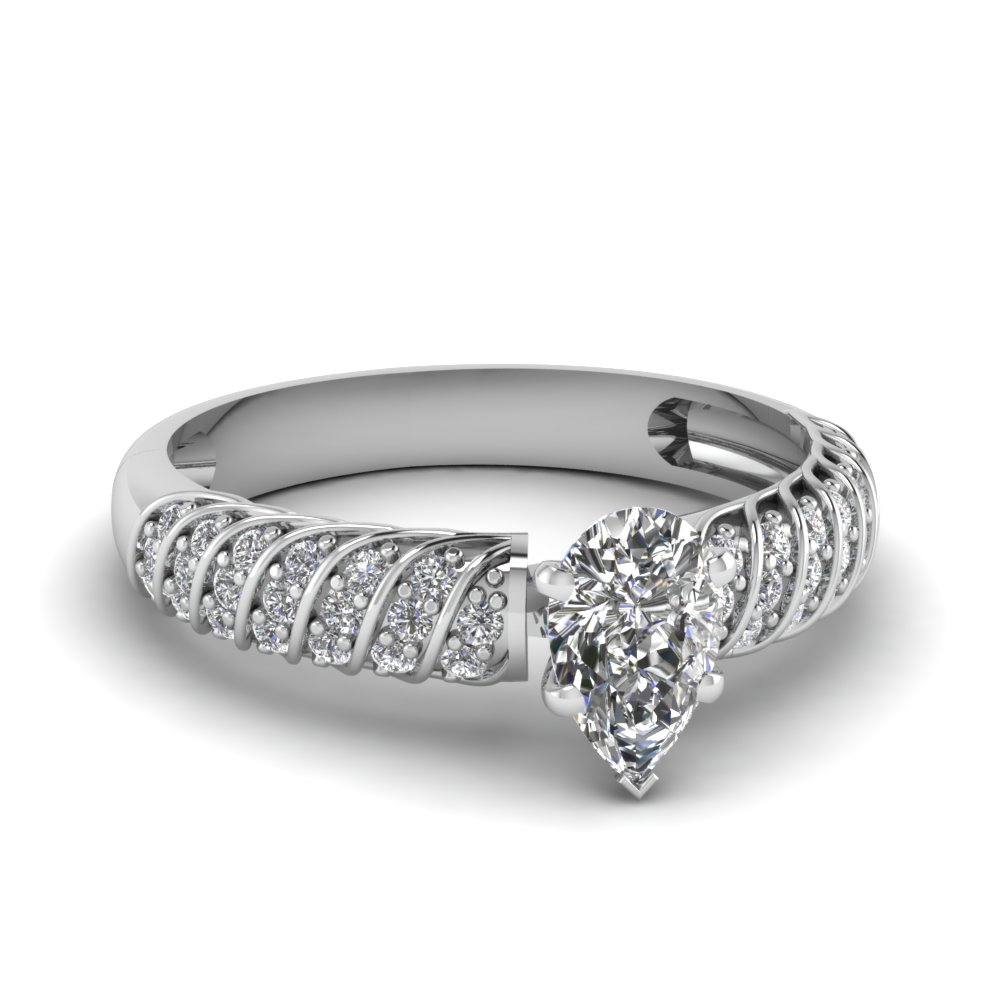 Rope Design Pear Shaped Diamond Ring