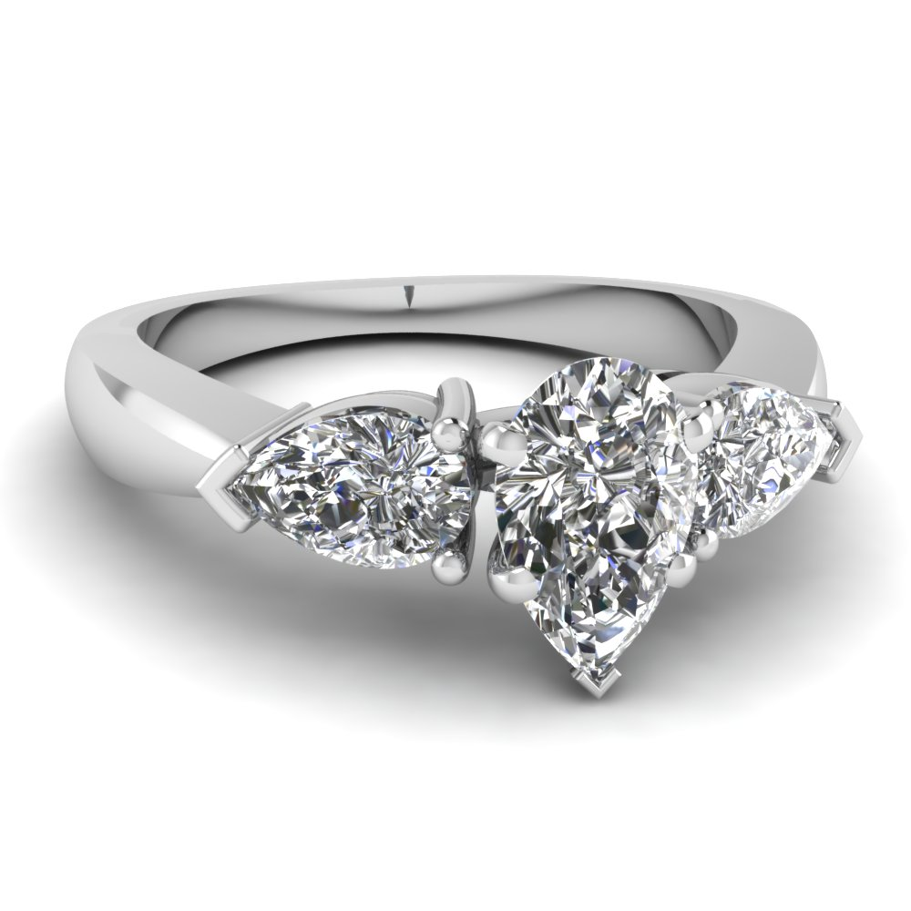 V Prong 3 Stone Pear Engagement Rings