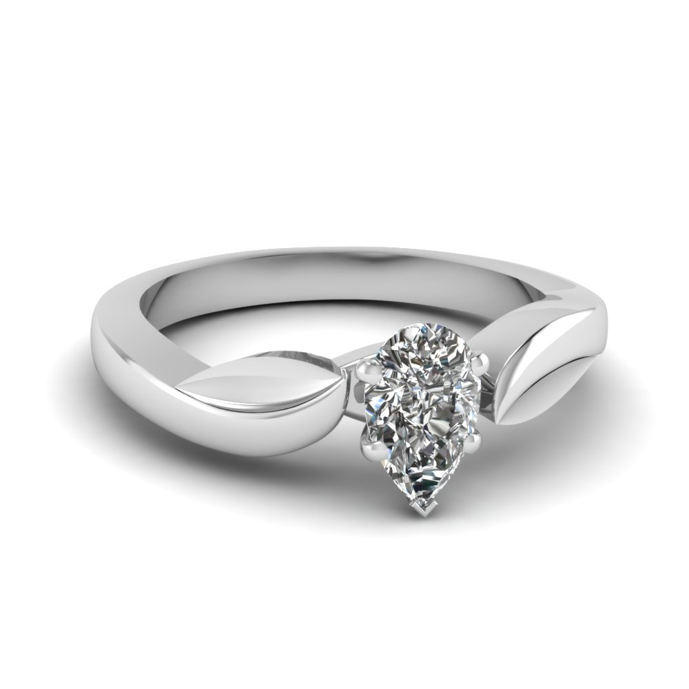 Pear Cut Diamond Solitaire Rings